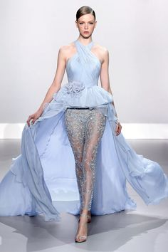 Pale blue pleated chiffon and embellished lace peplum bustier with silk chiffon train and pale blue French Chantilly lace embellished trousers.