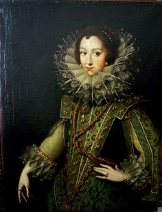 Isabel de Bourbon. Elisabeth of France wears tabbed sleeves and a tabbed bodice with false sleeves and hanging sleeves in this portrait.