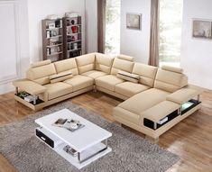 VIG Furniture - Divani Casa T717 Modern Beige Leather Sectional Sofa - VGYI-SP-T717