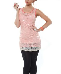 Take a look at this Coral Embellished Sleeveless Tunic by Lily on #zulily today!