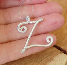 Initial Necklace, Silver, Aluminum Wire, Z, Wire Letter