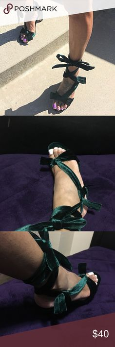 Green velvet Zara heels Green velvet open toe heels with 2 bows that ties up only worn once no marks or scratches size 9 in women but run small so can fit a size 8 Zara Shoes Heels