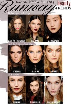Emily of Cupcakes & Cashmere did a great round up of the NYFW fall 2013 beauty trends