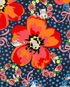 Japanese Import - Peek-a-Boo Cat With Poppies - Midnight Blue