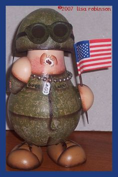 INSTANTLY Download pdf painting epattern soldier recycled Light Bulb gourd DUDE flag army marine veteran warrior ofg prim chick pattern 725