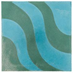 "ANN SACKS Eastern Promise by @Martyn Lawrence Bullard 7-7/8"" x 7-7/8"" aladdin b concrete field in azure and emerald"
