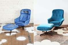 We sourced this vintage Overman lounge chair set through our Chairloom Annex and sold it to a client who selected a Duralee velvet for the redo. We removed the old seat back cushions and reupholstered the chair with five subtle tufts. Such a beautiful redo!