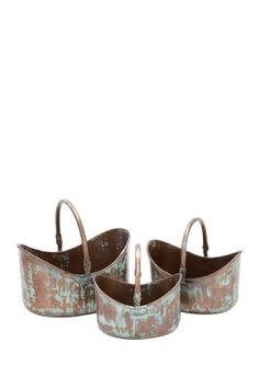 Copper Oval Planter Baskets - Set of 3 on HauteLook