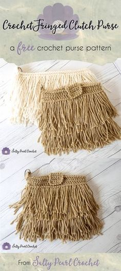 Crochet Fringe Clutch Purse Pattern Free • Salty Pearl Crochet