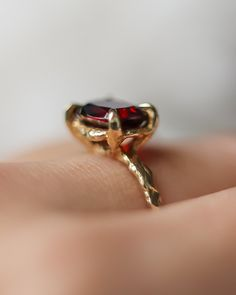 Solid Gold Garnet Statement Ring – Lacee Alexandra Jewelry Alternative Engagement Rings, Gold Engagement Rings, Solid Gold, White Gold, Garnet Gemstone, Statement Rings, Bridal Jewelry, Heart Ring, Gold Rings