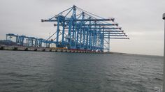 The worlds biggest container cranes, 2000 tons each and fully robotised. Rotterdam - Maasvlakte Oct. 2014