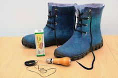 Wet Felted Boots / Master Class Tutorial                                                                                                                                                                                 More