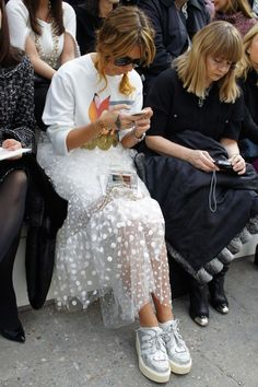 chanel show - white outfit, skirt, casual shoes
