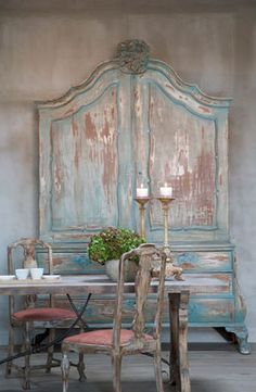 "Painted & Distressed Dutch Cabinet. Love the Cabinet, too ""distressed"" for my taste."