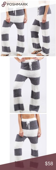 Grey/Ivory Striped Berber Fleece High Waist Sweats ❤️Comfy & Cozy Grey & White Striped Luxe Berber Fleece High Waist Pajama Style Drawstring Sweatpants❤️🚫No Trades Price Firm🚫✈️✈️Ships Same Or Next Day✈️✈️ The Denim Bar Pants Track Pants & Joggers