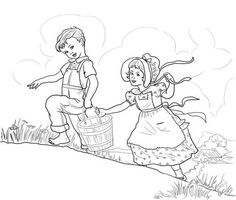 jack and jill nursery rhyme coloring page from mother goose nursery rhymes category adult coloring