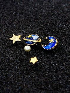 ❤️Blue Star, Moon And Planet Rhinestone Earrings. You can buy yours today with free shipping. Condition: Brand New, Gender: Women, Metal Type: Gold Plated, Material: Rhinestone
