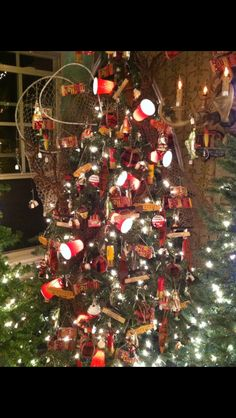Hunting and fishing themed Christmas tree note the red solo cup lights!