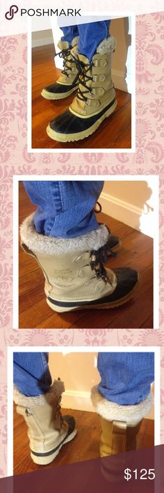 Sorel Insulated Tan Duck Boots size 8.5 Women's SOREL Insulated tan duck boots lace up front size 8.5 perfect for fall winter original $169 will trade for a Patagonia fleece or jacket Sorel Shoes Winter & Rain Boots
