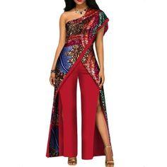 African Top-Pant Set For Women Sexy Off Shoulder Jumpsuit Dashiki Clothing Batik African Fashion Ankara, Latest African Fashion Dresses, African Dresses For Women, African Print Fashion, African Attire, African Clothes, African Traditional Dresses, Traditional Outfits, African Jumpsuit