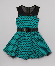 Green Zigzag Belted A-Line Dress