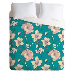 Rachelle Roberts Painted Poppy In Turquoise Duvet Cover | DENY Designs Home Accessories
