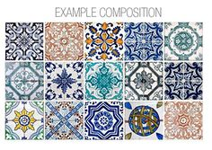 Hydraulic Tiles Stickers Pack with 15 Tile by homeartstickers