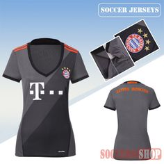 93086a48143 Newest Cool Bayern Munich Grey 2016 17 Away Womens Replica Jersey
