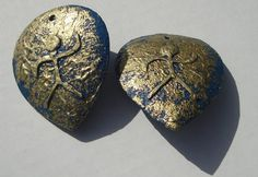 blue and gold people figure clip on earrings by ziporgiabella