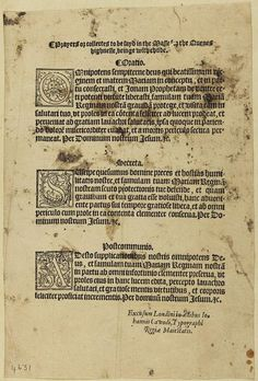 Only surviving copy of 'Prayers or collectes to be sayd in the Masse for the Quenes highnesse, beinge with childe' (London,1554) [**H2015.S2.02] Mary I was thought to be pregnant in autumn 1554, though by June 1555 it was known not to be the case.