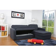 Denver Steel Finish Double Cushion Storage Sectional Sofa Bed Set