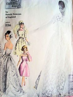 1960s Ronald Paterson Gorgeous Wedding Gown Bridal Dress Pattern Vogue Couturier Design 1156 Vintage Sewing Pattern Strapless Gown,Petticoat...