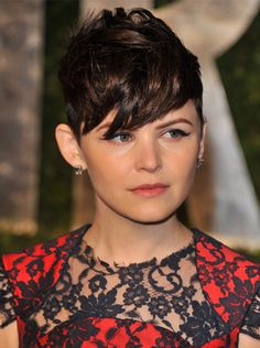 For a variation on a short-haired style, try long, sweeping bangs for a truly sultry effect, just like Ginnifer Goodwin did at the 2012 Oscars afterparty.