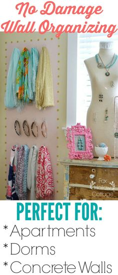 DIY Organizing Ideas | Perfect for apartment walls, dorms, small spaces, concrete walls and more! Organize, Organization Tips and Ideas at www.foxhollowcottage.com