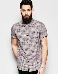 ASOS Shirt In Short Sleeve With Triangle Geo Print