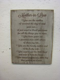 Rustic Sign for your Mother-in-Law. Distressed and Antiqued, Makes a great gift. on Etsy, $39.95