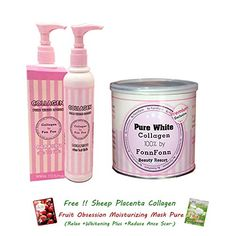 SET LOTION COLLAGEN Q10 PURE WHITE BY FONN FONN 100 PINK COLOR LOTION 200ML WHITENING AURA REDUCE DARK SPOT ANTI AGING Q10Get Free Tomato Facial Mask ** For more information, visit image link.