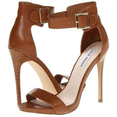Steve Madden Marlenee (235 QAR) ❤ liked on Polyvore featuring shoes, sandals, heels, cognac, ankle strap shoes, fleece-lined shoes, cognac high heel sandals, synthetic shoes and ankle strap heel sandals