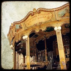 """TITLE : """"Le Manège #8"""" (The Carousel #8) located in Reims, France    DESCRIPTION  Print of an original photograph with a TTV Technique (black borders and dust) and color effects digitally enhanced."""