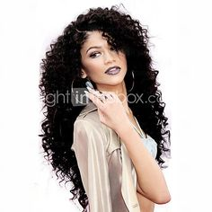 Hot! Top Quality Lace Front Wigs 150% Density Natural Black Color Kinky Curly Heat Resistant Synthetic Hair Wigs - USD $45.99