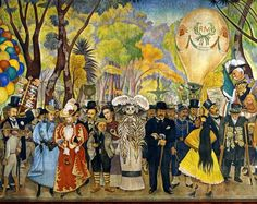 """Diego Rivera and FRIDA KAHLO and the figure of the """"Calavera Catrina"""" next to its creator, the painter José Guadalupe Posada. Central section from the Dream of a Sunday afternoon in the Alameda Park (Sueño de una tarde). 1947-48. Location: Hotel del Prado, Mexico City, Mexico"""