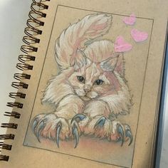 Posted by tlchang37 : The week's #monthofove challenge sketchbook critter-Weapons (which my cat wields daily) #artexperiments #tonedpaper #pastel #cutpaper