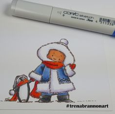 Day12 #thedailymarker30day. #copic coloring by #trenabrannonart image by #momanning #northpole #penguins #winter