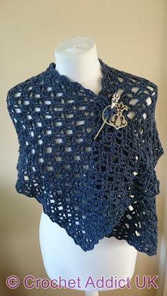 Flash of Evening Chill Shawl ~ Free Crochet Pattern ~ Crochet Addict UK, #haken, gratis patroon (Engels), stola, omslagdoek, shawl