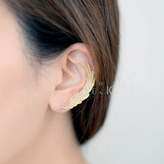 Gold/Silver Second Angel Wing Ear Cuff with Stud Earring by bkandjio on Etsy