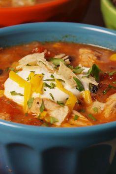 Crock-Pot Chicken Enchilada Soup  - Delish.com