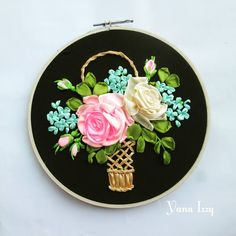 Ribbon Art, Ribbon Crafts, Silk Ribbon, Diy Crafts, Fabric Embellishment, Embroidery Bags, Good Morning Friends, Flower Basket, Wall Decor