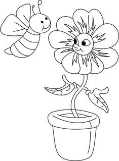 Honey Bee Talking To A Flower Coloring Pages : Coloring Sky Hello Kitty Colouring Pages, Bee Coloring Pages, Spring Coloring Pages, Online Coloring Pages, Coloring Pages For Girls, Free Printable Coloring Pages, Coloring For Kids, Free Coloring, Coloring Sheets