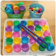 Easter Egg Fine Motor Skills Set Up.  What a brilliant idea!