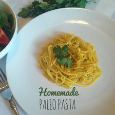 I love this method for making homemade paleo pasta. It's yellow squash with a little bit of seasoning, cooked in the oven. Easy and delicious.